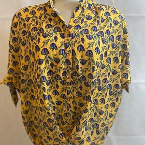 Joy Joy Yellow and Blue High Low Blouse Size L